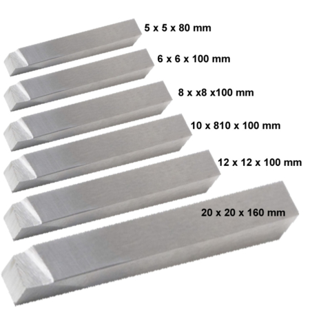 Drejestål fra 5 x 5 x 80 mm - 20 x 20 x 160 mm